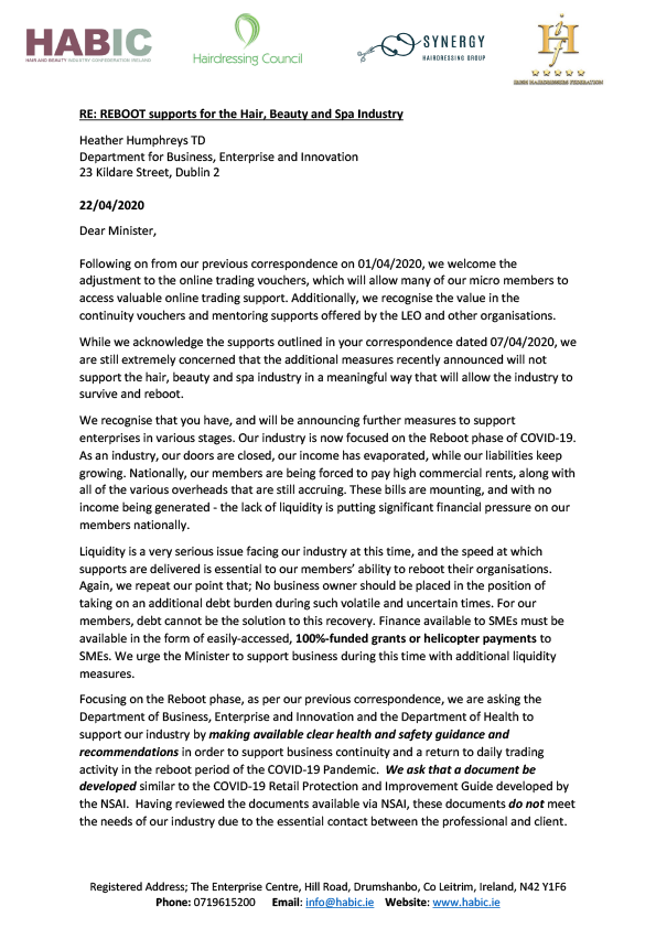 HABIC letter to Minister Heather Humphreys TD re: REBOOT supports for the Hair, Beauty and Spa Industry pg. 1/2