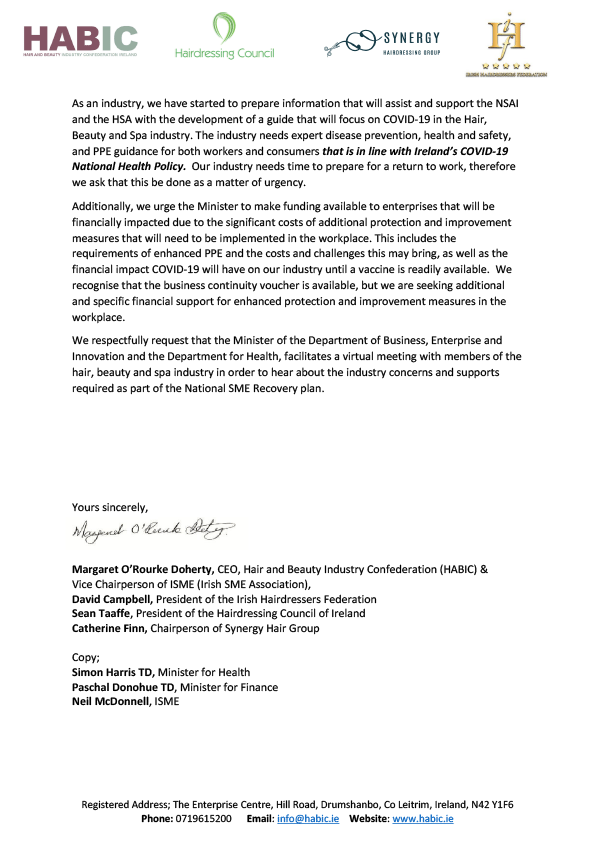 HABIC letter to Minister Heather Humphreys TD re: REBOOT supports for the Hair, Beauty and Spa Industry pg. 2/2